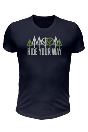 Koszulka bawełniana Ride Your Way krótki rękaw, ciemnografitowa,