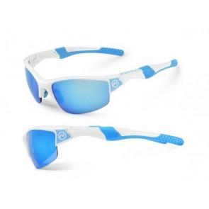 Accent Okulary Venus biało - niebieskie; soczewki PC: niebieskie lustrzane, przezroczyste