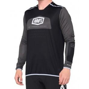 Koszulka męska 100% R-CORE X Jersey długi rękaw black white