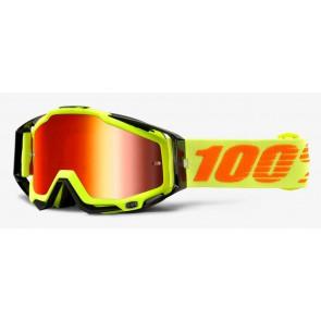 Gogle 100% RACECRAFT ATTACK YELLOW (Szyba Czerwona Lustrzana Anti-Fog + Szyba Przezroczysta Anti-Fog + 10 Zrywek)