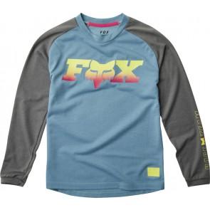 FOX Koszulka Rowerowa  Junior z Długim Rękawem Ranger Dr Light Blue