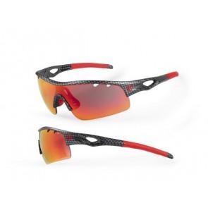 Accent Okulary Storm czarno - czerwone faktura karbonu; soczewki PC: czerwone lustrzane, przezroczyste