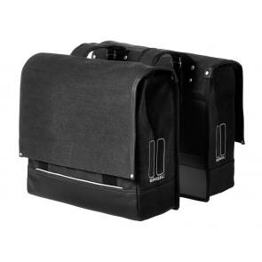 Sakwa miejska podwójna BASIL URBAN FOLD DOUBLE BAG 40L / 55L, mocowanie na paski, wodoodporne płótno, czarna