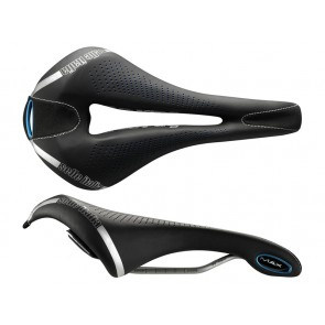 Siodło SELLE ITALIA MAX FLITE E-BIKE GEL SUPERFLOW L (id match - L3) TI 316 Tube 7, fibra-tek - Mokka, 320g czarno-niebieski (NEW)