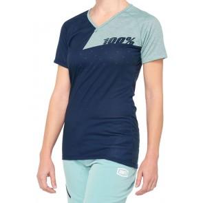 Koszulka damska 100% AIRMATIC Women's Jersey krótki rękaw navy seafoam