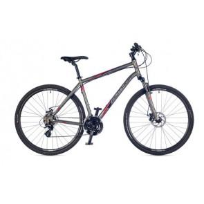 """METEOR 22"""" srebrny rower AUTHOR'17, z amortyzatorem RST NOVA w matowym lakierowaniu"""