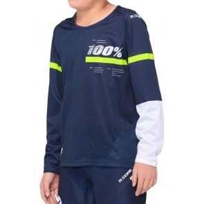 Koszulka juniorska 100% R-CORE Jersey długi rękaw dark blue yellow