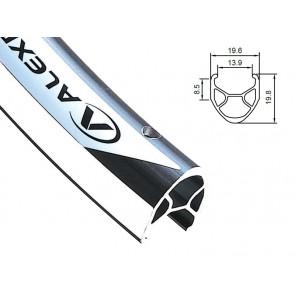 Obręcz szosa ALEXRIMS R450 700x36otw. bok CNC srebrna