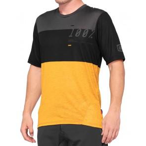 Koszulka męska 100% AIRMATIC Jersey krótki rękaw black mustard