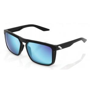 Okulary 100% RENSHAW Matte Black - HiPER Blue Multilayer Mirror Lens (Szkła Niebieskie Lustrzane Wielowarstwowe, przepuszczalność światła 15%) (NEW)