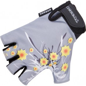 Rękawiczki dziecięce DAISY popielate, wzór kwiaty S/M