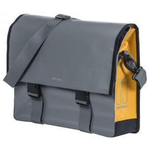 Sakwa Miejska Pojedyńcza BASIL URBAN LOAD MESSENGER BAG 15-17L, mocowanie na haki Hook-On System, wodoodporna plandeka i poliester, burzliwy szaro-złoty (NEW)
